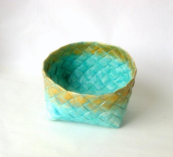 Handmade Basket Paper : Basket woven paper turquoise handmade l danish
