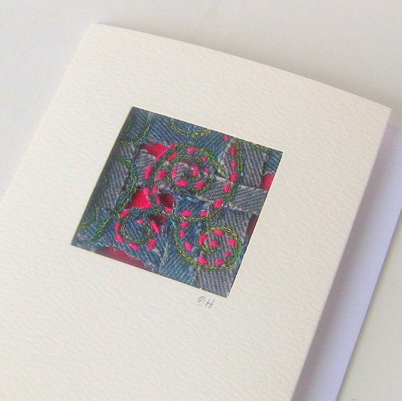 Card woven recycled blue jeans red embroidered