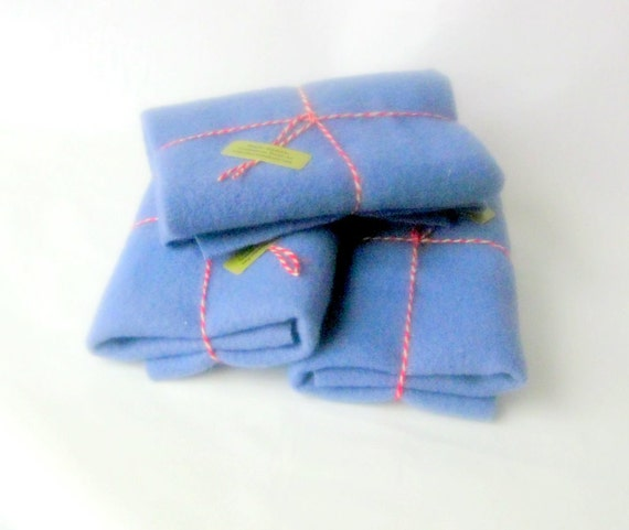 Wool blanket 15x24' felt craft recycled medium blue