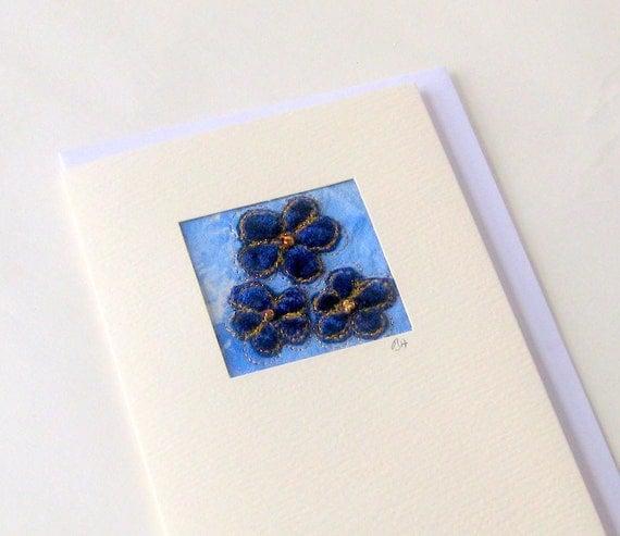Card blue velvet 3 beaded small flowers handmade