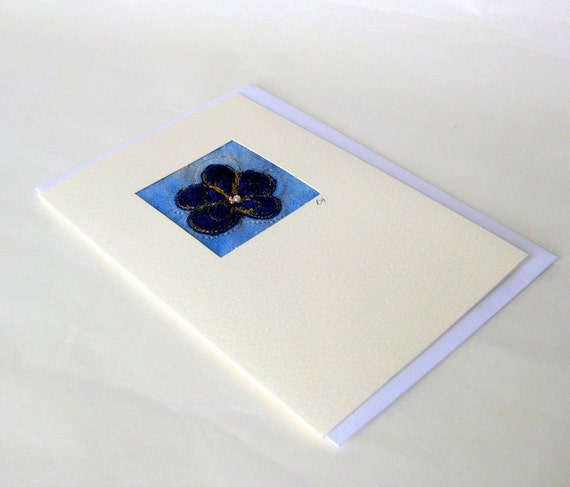 Card original fiber art applique blue flower cute Danish