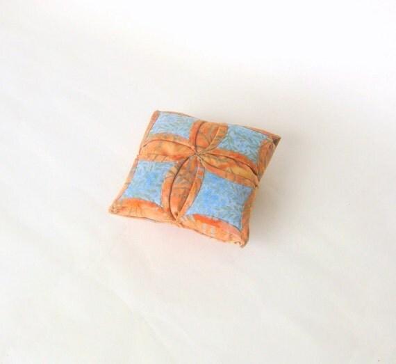 Pincushion fabric origami golden blue