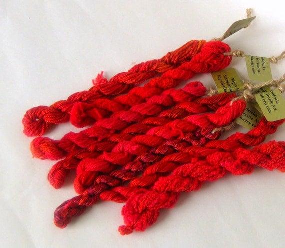 Embroidery thread yarn handdyed bright red