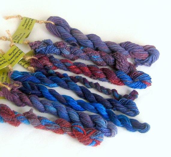 Embroidery yarn thread handdyed blue rust