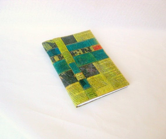 Covered unlined diary colored recycled Danish newspaper
