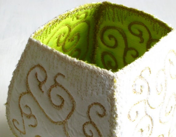 Container contemporary handmade lime green white ooak