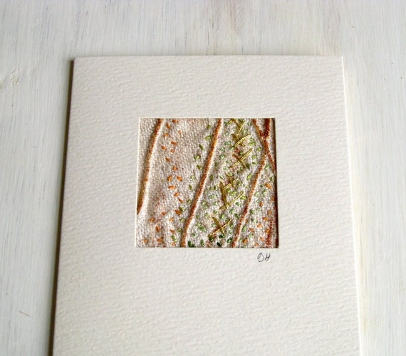 Card mini picture hand embroidered silk rustic