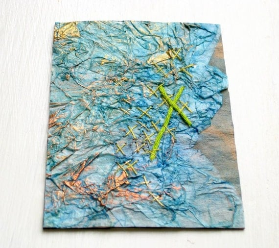 ACEO mixed media collage embroidered