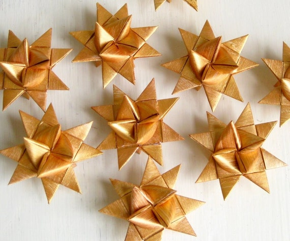 Origami stars x3, golden, Christmas, hand painted, Scandinavian
