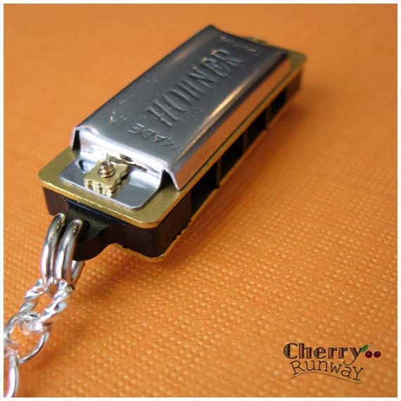 Miniature Harmonica, Really Works, Silver, plastic, Gold pendant,  'play me a ditty'