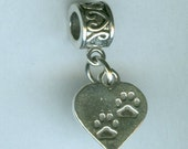 Sterling PAW PRINTS on your Heart Bead Charm for Trollbead, European and All Name Brand Add a Bead Charm Bracelets