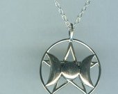 Sterling Silver Triple Moon Pentacle Pendant AND Chain