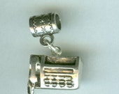 Sterling Silver FAX MACHINE Bead Charm for Trollbead, European and All Name Brand Add a Bead Bracelets- 3D