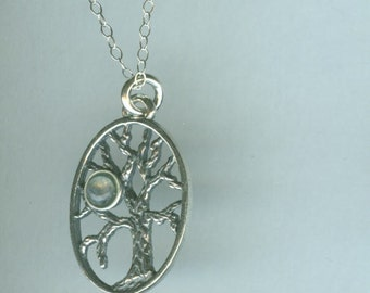 Sterling Tree of Life with Moonstone Pendant and Chain