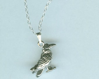 Sterling 3D STANDING RAVEN Pendant and Chain