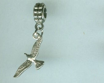 Sterling SEAGULL IN FLIGHT Bead Charm for  all Name Brand Add a Bead Charm Bracelets - Charm or Pendant  - 3d