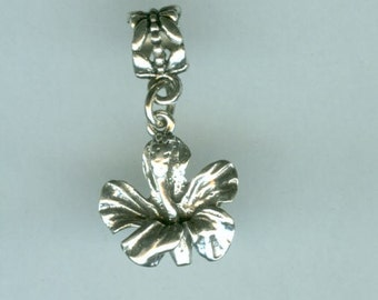 Sterling HIBISCUS FLOWER Bead Charm for all Name Brand Add a Bead Charm Bracelets