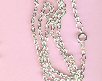 Silver Neck Chains - 18 Inch Flat Cable Chain - Package of 8