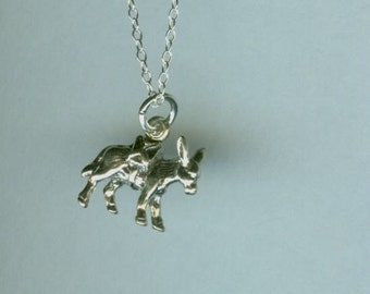 Sterling  DONKEY Pendant AND 18 Inch Chain