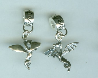 Sterling  3D DRAGON Bead Charm for all Name Brand Add a Bead Bracelets - Charm