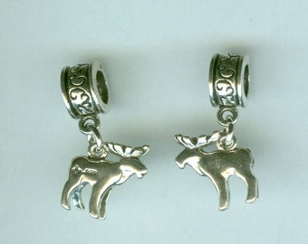 Sterling 3D MOOSE Bead Charm for all Name Brand Add a Bead Bracelets
