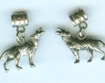 2 Silver WOLF Beads for All Name Brand Add a Bead Bracelets - 3d