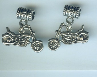 Silver MOTORCYCLE Bead Charm - Fits  All Name Brand Add a Bead Charm Bracelets