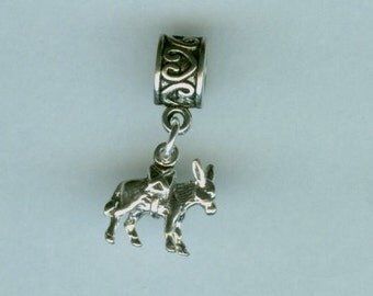 Sterling DONKEY WITH PACK Bead Charm for all Name Brand Add a Bead Bracelets- 3 Dimensional