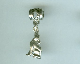 Sterling COYOTE Bead Charm for All Name Brand Add a Bead Bracelets - 3D