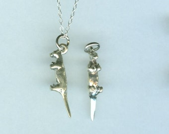 Sterling OTTER Pendant AND Chain - Wildlife, Totem, Animal