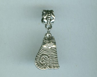 4 Silver CAT Bead Charm for all Name Brand Add a Bead Bracelets - Charm