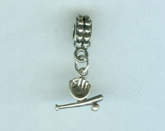Sterling BASEBALL Charm Bead for all Name Brand Add a Bead Bracelets