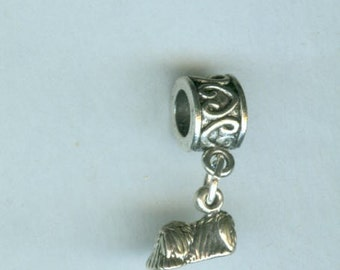 Sterling PEKINESE Dog Charm for All Name Brand Add a Bead Bracelets - 3 Dimensional