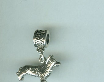 Sterling CORGI Dog Bead Charm for all Name Brand Add a Bead Bracelets- 3D Heavy