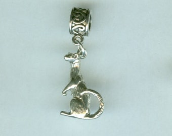 Sterling FERRET Bead Charm for all Name Brand Add a Bead Bracelets- 3D Heavy