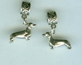 Sterling DACHSHUND Dog Bead Charm for all Name Brand Add a Bead Bracelets - 3D Heavy