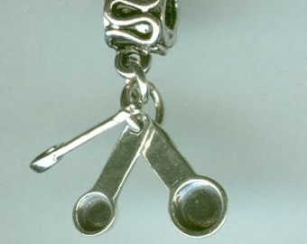 Sterling MEASURING SPOONS Moveable Bead Charm for  Troll, Add a Bead charm Bracelet - 3D