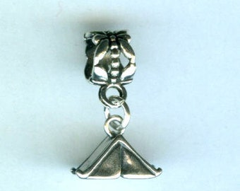 Sterling TENT Bead Charm for  -Trollbead, European and All Name Brand Add a Bead Charm Bracelets 3D
