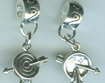 Sterling ARCHERY Bead Charm for all Name Brand Add a Bead Bracelets - 3D - Bow & Arrow