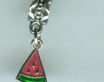 Sterling WATERMELON Bead Charm for All Name Brand Add a Bead Charm Bracelets- 3D