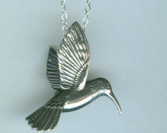 Sterling HUMMINGBIRD Pendant AND Chain - Stunning