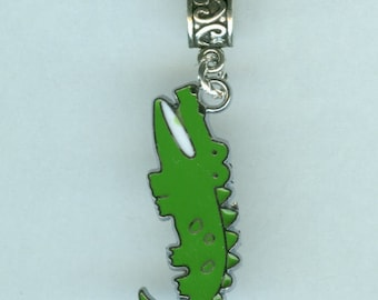 Silver Enamel CROCODILE Bead charm for  all Name Brand Add a Bead Bracelets - Charm