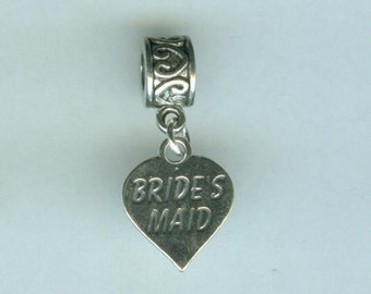 Sterling BRIDE'S MAID Bead Charm for All Name Brand Add a Bead Charm Bracelets