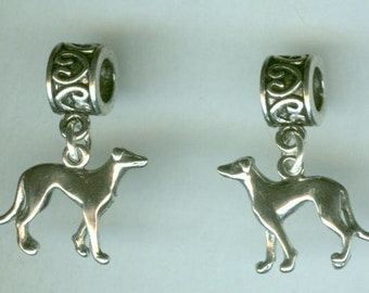 Sterling GREYHOUND DOG Bead Charm for All Name Brand Add a Bead Bracelets- 3d