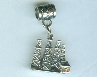 Sterling OIL DERRICK Bead Charm for all Name Brand Add a Bead Bracelets