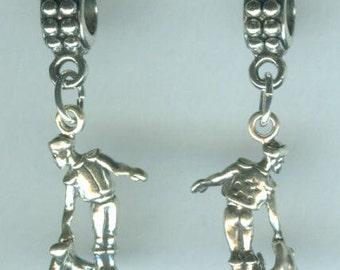 Sterling MATADOR Bead Charm for all Name Brand Add a Bead Bracelets - Charm - BULL FIGHTER - 3D