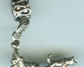 Sterling Silver HUSKY DOG SLED Team Bead Charm for  All Name Brand Add a Bead Charm Bracelets - 3D Heavy