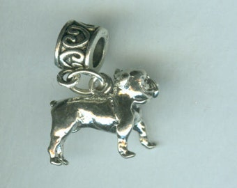 Sterling BULLDOG Bead Charm for All Name Brand Add a Bead Bracelets - 3D HEAVY