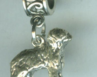 Sterling Old English SHEEPDOG Bead Charm for  all Name Brand Add a Bead Bracelets  - 3D Heavy - XL