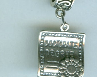 Sterling DOCTORATE'S DEGREE Bead Charm for all Name Brand Add a Bead Charm Bracelets - 3d Heavy - DIPLOMA